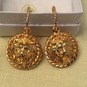 Rare vintage Anne Klein gold dangle earrings